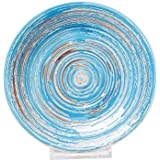 Kare Tasse mit Unterteller Swirl blau handgemacht Kaffeetasse maritim Steingut