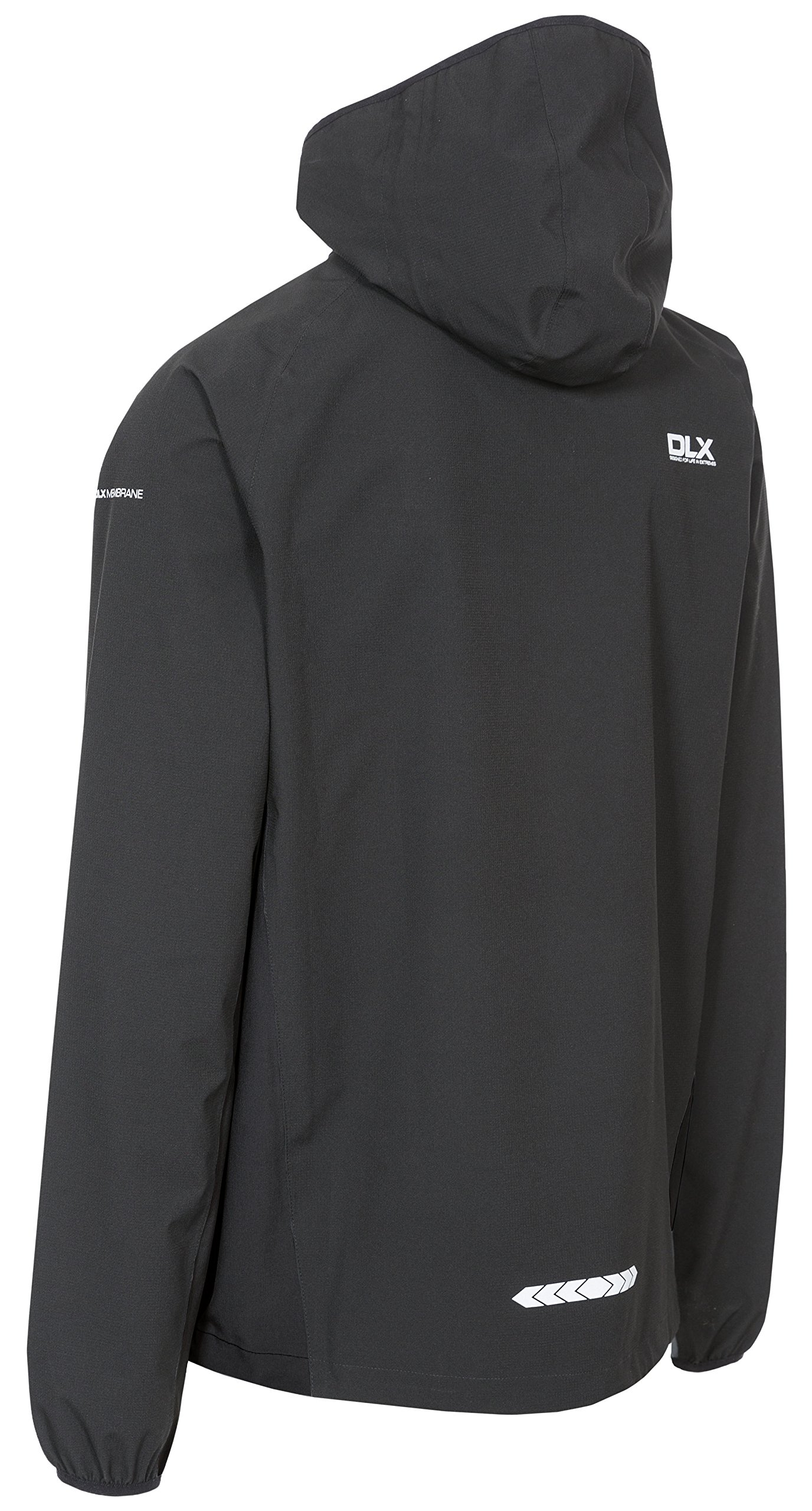 Trespass Men's Hawkings Packaway Waterproof Jacket with Removable Hood, Black, 2X-Small