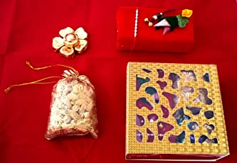 Designer Rakhi Gift Set with Dryfruits, Roli-Chawal and Hand Made Chocolates. Rakhi's for Bhai and Bhabhi