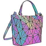 Tikea Geometrische Shopper - Leuchtende Handtasche Holographische Einkaufstasche Kunstleder Umhängetasche Schultertaschen Vie