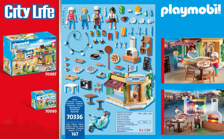 Playmobil City Life 70336 - Pizzeria con Tavoli all'Aperto con Effetti Luminosi, dai 4 anni 3 spesavip