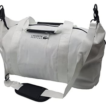 1a5426fa6a7 Lacoste Men's White Weekend Large Gym Sports Bag Travel Overnight Handbag  Black Zippers