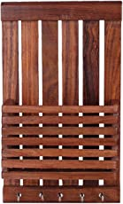 Royalhandicraft Wooden Wall Hanging/Mounting Letter/Paper Organizer with Key Hooks Holder/Mobile Stand.