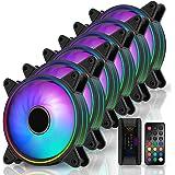 EZDIY-FAB Moonlight 120mm RGB Caso Ventilador con Hub X y Remote,Placa Base Aura Sync,Control de Velocidad,Ventilador Direcci