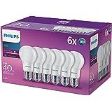 Philips Ampoule LED à culot à vis E27 230VBlanc chaud surface effet givré , Synthétique, E27, 5.5 wattsW 240 voltsV