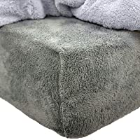Brentfords Teddy Fleece Fitted Bed Sheet Plain Thermal Warm Soft Luxury Bedding, Charcoal Grey - Double