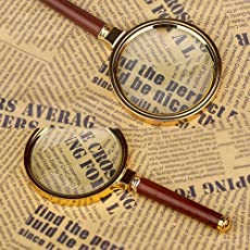Luvina 10X Handheld Magnifier Antique Mahogany Handle Magnifier Reading Magnifying Glass for Reading Book, Inspection, Coins, Insects, Rocks, Map, Crossword Puzzle(80mm)