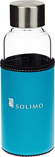 Amazon Brand - Solimo Borosilicate Glass Sports Bottle, 450 ml, Blue
