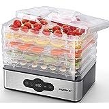 Aigostar Crispy-Deshydrateur alimentaire avec 5 plateaux. Déshydrateurs sans BPA, 240W. Déshydrate fruits, viande, légumes et