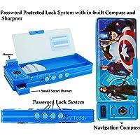 Funny Teddy Password Protect Pencil Box & Sharpener - Dual Side - Multi Purpose - (Super Heroes)