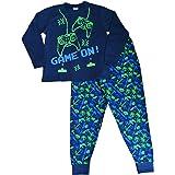 Pijama largo para niños con mensaje: «Game On», invasor del espacio, talla de 7 a 14 años, color verde y azul
