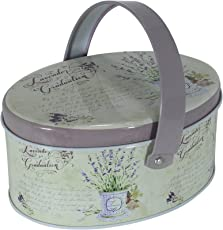 Enwraps Purple Lavender Oval Multipurpose Metal/Tin Utility Box With Handle for Home/Kitchen/Wedding/Casual Gift LBH(inches)=6x3x2