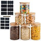 Deco Haus Set 6 Tarros de Cristal Reutilizables Tapa Bambú - Herméticos, Aptos Lavavajillas y Microondas - Contenedor para Ga