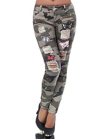 L990 Damen Jeans Hose Armyhose Damenjeans Camouflage