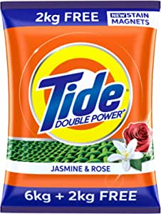 Tide Plus Extra Power Detergent Washing Powder - 6 kg (Jasmine and Rose) with Free Detergent Powder - 2 kg