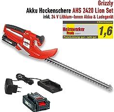 Grizzly Akku Heckenschere AHS 2420, 56cm Messerlänge, 52cm Schnittlänge, Inkl. 24 V Akku 2.0 Ah, Ladegerät, Robustes Metallgetriebe, Laser-Cut Messer, Schnell-Stopp-Funktion