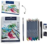 Faber-Castell Goldfaber Aqua 114614 Watercolour Pencils Gift Set 12 Colouring Pencils Including Fineliner, Pencil, Watercolour Pad, Sharpener, Eraser And Watercolour Brush