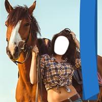 Frau mit Pferdefoto-Herausgeber