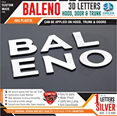 CarMetics Baleno 3D Letters for Maruti Suzuki Baleno Silver Color 1 Set - 3D Letters Stickers Emblem Logo Accessories