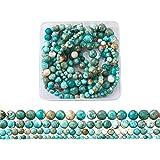 Cheriswelry 5 hebras de cuentas de turquesa con cuentas de piedra natural redondas para hacer pulseras de joyería (4 mm, 6 mm