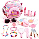 Auney Kids Make Up Set Washable Make Up Kit for Girls, 18 Pcs Real Make Up Toy with Cute Bag, Sunglasses, Jewelry…