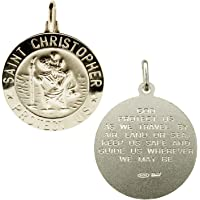 925 Sterling Silver Large Mens 24mm 3D St Christopher Medal Pendant With Travellers Prayer & Optional Curb Chain In Gift…
