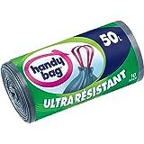 Handy Bag, Rouleaux de 10 Sacs Poubelle 50 L, Poignées Coulissantes, Ultra Résistant, Anti-Fuites, 68 x 73 cm, Gris Foncé, Op