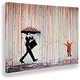 Giallobus - Schilderij - Banksy - Regen van kleuren - Tela canvas - 140x100