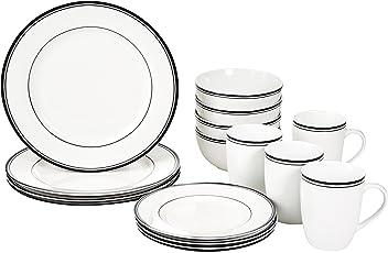 AmazonBasics 16-Piece Cafe Stripe Dinnerware Set- Black