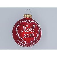 boule rouge mat,Noël 2020, en verre,prénom,alsace,8cm