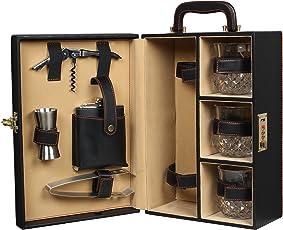 Telconi Black Elegant Bar Set | Portable Leatherette Briefcase Bar Set | Bar Set For Picnic | Bar Set for Travel | Bar Set for car