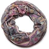 styleBREAKER sciarpa ad anello con stampa animalier e Paisley, sciarpa, foulard, da donna 01014010