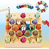 Dookey Giochi di Pesca, 2 in 1 Giochi Montessori Magnetici di Pesca in Legno, Educazione Interattivi per Genitori e Bambini,