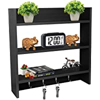 Callas Wooden Wall Mounted Shelves with Hooks | Floor Rack | Organizer | Shelf for Kitchen Storage Boxes (3 Shelves…