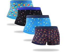 WeciBor Calzoncillos Tipo bóxer Coloridos para Hombre, Ropa Interior de algodón con diseño Divertido, 4 Paquetes