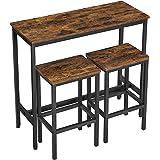 VASAGLE Ensemble Table de Salle à Manger, Table de Bar et chaises de Bar, Table Haute et Tabouret, Cadre en Acier, Style Indu