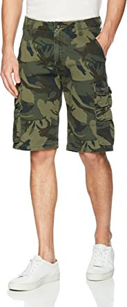 Wrangler Authentics Men's Premium Relaxed Fit Twill Cargo Short, Forest Green Camo, 34