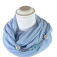 Sciarpa Gioiello Tinta Unita Azzurro, Dettaglio Staccabile In Chiusura, Creato Con Corda Morbida Di 6 mm Ricamata Con…
