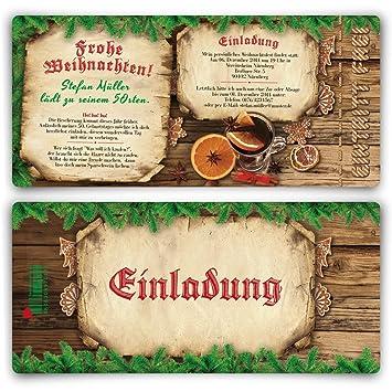 Einladungskarten Zum Geburtstag (30 Stück) Als Eintrittskarte Weihnachten  Advent Silvester Winter