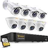 Anlapus FULL HD 1080P H.265+ Kit Vidéo Surveillance - 8CH DVR avec 1To disque dur, 4pcs Caméra Surveillance Extérieure Bullet