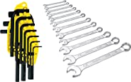 Stanley 69-253 Hex Key Set (10-Pieces) + Stanley 70-964E Combination Spanner Set (12-Pieces)