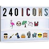 Relaxdays Lightbox aanvullingsset, 240 gekke tekens, uitbreiding met letters en cijfers, lichtkast iccons, kleurrijk