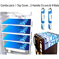 LOOMANTHA miles to go. Combo of Flower Decorative 1 Fridge Top and 2 Handle Cover with 4 Refrigerator Mat (Blue and White) -7 Pieces