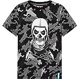 Fortnite Camiseta Niño De Manga Corta, Camiseta De Algodón con Estampado De Camuflaje, Ropa Gamer con Skull Trooper, Regalos