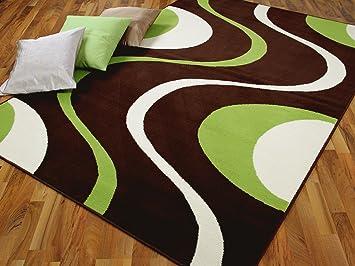 Teppich braun grün  Teppich Modern Trendline Braun Grün Retro 4 Größen: Amazon.de ...
