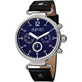 August Steiner Men's Multifunction Dress Watch - Silver Case around Blue Dial with 24 Hour, Day of Week, and Date Subdial on