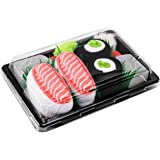 Sushi Socks Box - 2 paires de Sushi CHAUSSETTES en Coton: Saumon Nigiri Concombre Maki - CADEAU CRÉATIF pour Fammes et Hommes, Tailles UE: 36-40, 41-46| Bonne qualité - Certifié OEKO-TEX, made in UE