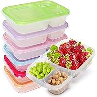 Kurtzy Bento Lunch Box à 3 Compartiments (Lot de 7) - Adaptée pour Micro-ondes, Lave-vaisselle et Congélateur - Boite…
