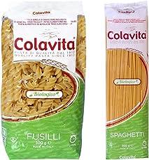 Colavita Pasta Fusilli 500g and Spaghetti 500g -Organic Durum Wheat (Combo Pack of 2)