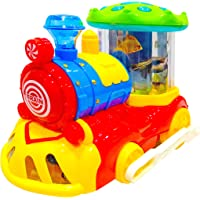 Popsugar Musical Bump and Go Train with Flashing Lights Toy for Boys and Girls, Red